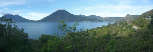 panoramic view of the San Pedro volcano on Lake Atitlán