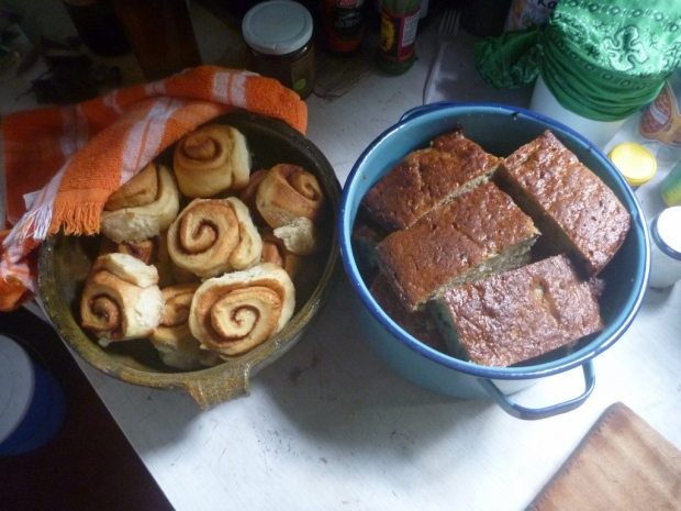 baked goodies! cinnamon rolls and banana bread with cacao nibblets