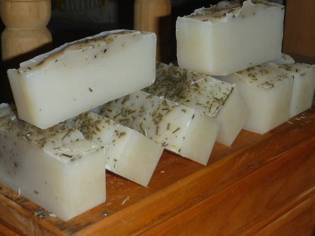 Rosemary and mint-scented, all-coconut oil soap